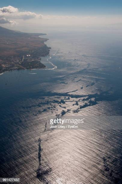 high angle view of sea against sky - josh utley stock pictures, royalty-free photos & images