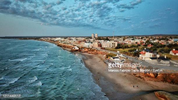 high angle view of sea and buildings against sky - argentina stock pictures, royalty-free photos & images