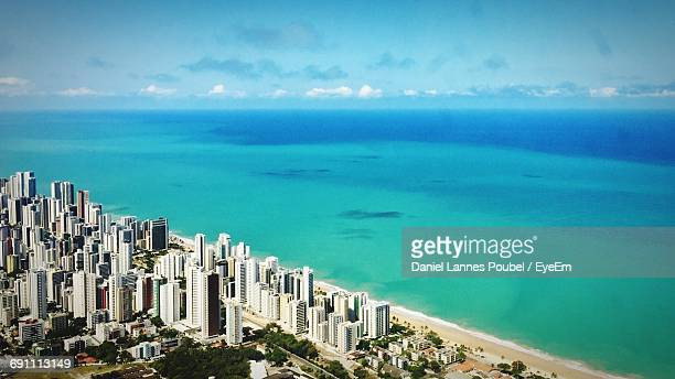 high angle view of sea and city - recife stock pictures, royalty-free photos & images