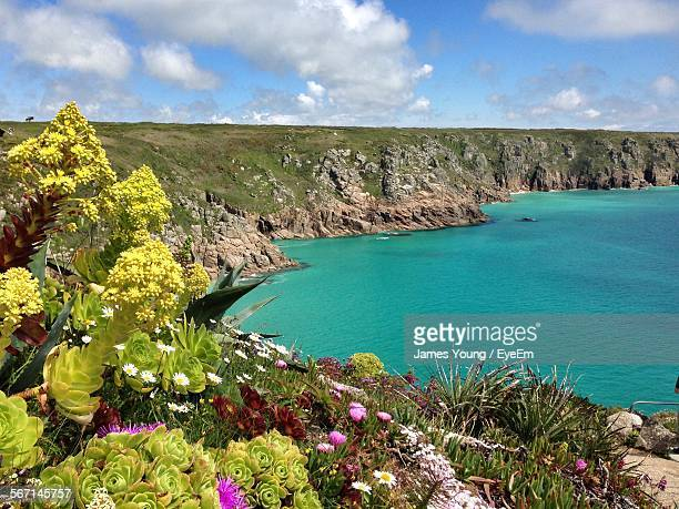 high angle view of sea and mountains against sky - penzance stock pictures, royalty-free photos & images