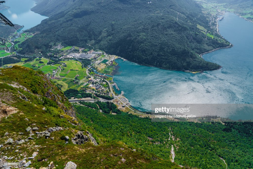 High Angle View Of Sea And Mountains : Stock Photo