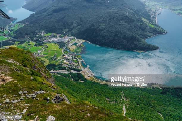 high angle view of sea and mountains - vegard hanssen stock pictures, royalty-free photos & images