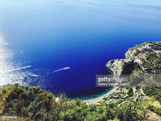 high angle view of sea by cliff - reggio calabria stock pictures, royalty-free photos & images