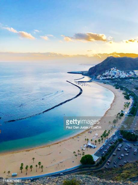 high angle view of sea during sunset - tenerife stock pictures, royalty-free photos & images