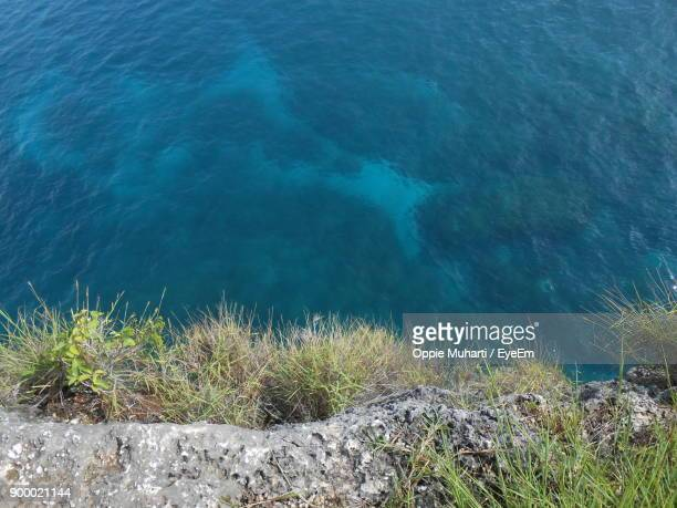 high angle view of sea - oppie muharti stock pictures, royalty-free photos & images