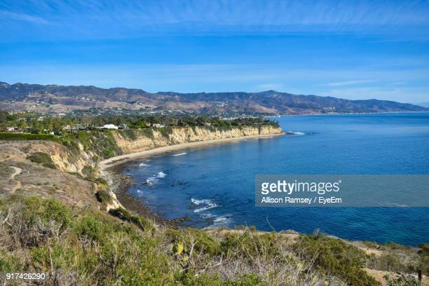high angle view of sea - malibu stock pictures, royalty-free photos & images