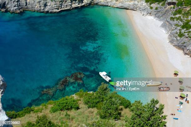 high angle view of sea - albania stock-fotos und bilder