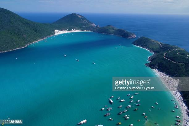 High Angle View Of Sea Shore Against Blue Sky