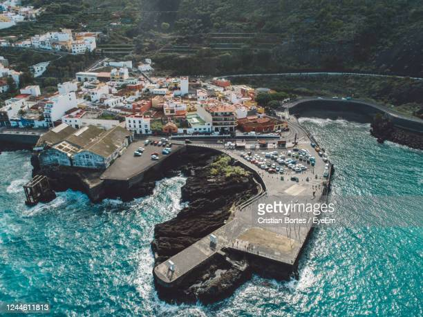 high angle view of sea shore of a city - bortes stock pictures, royalty-free photos & images
