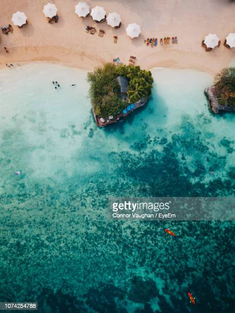 high angle view of sea shore - cebu stock photos and pictures