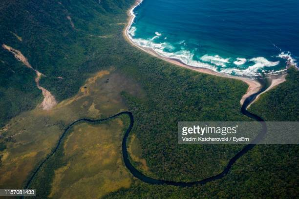 high angle view of sea shore - southland new zealand stock pictures, royalty-free photos & images