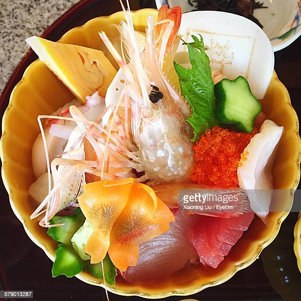 High Angle View Of Seafood And Vegetables In Bowl