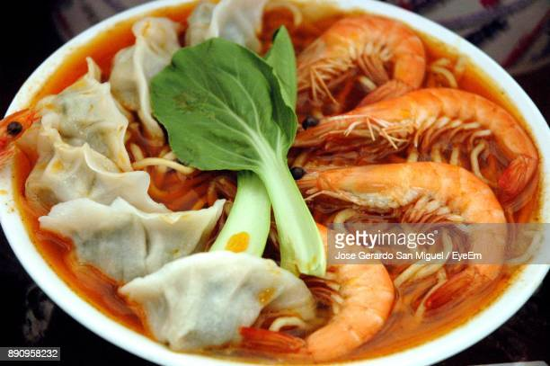 High Angle View Of Seafood In Bowl