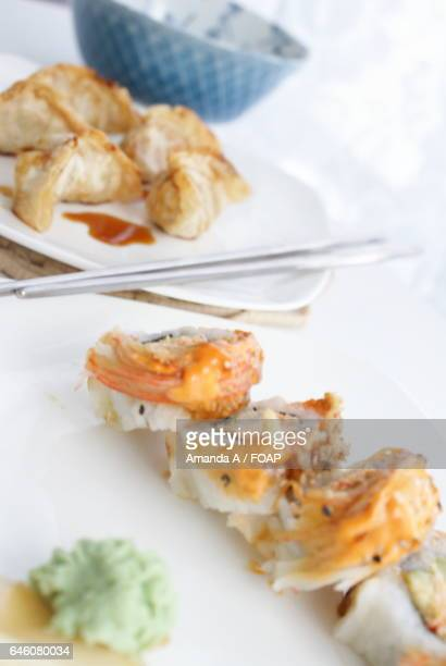 high angle view of seafood - amanda salmon stock pictures, royalty-free photos & images