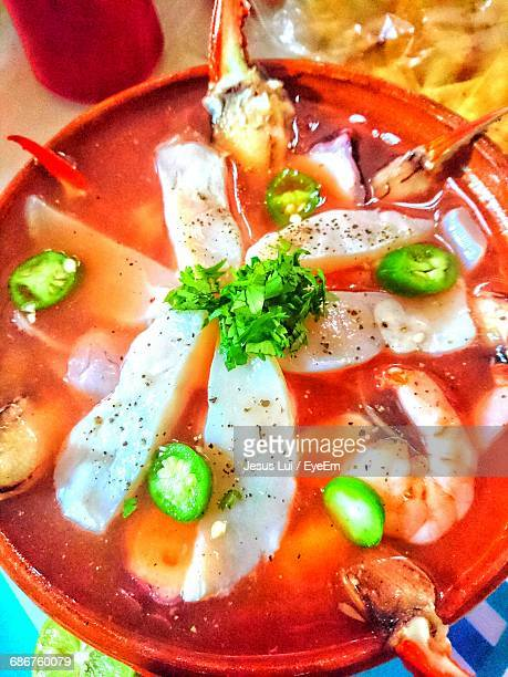 High Angle View Of Seafood Soup In Bowl