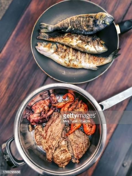 high angle view of seafoods - croatia stock pictures, royalty-free photos & images