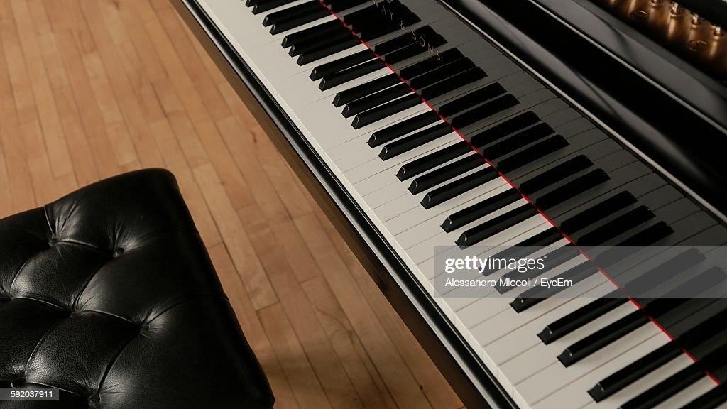 High Angle View Of Seat And Piano : Stock Photo