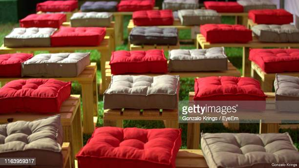 high angle view of seats at night - krings stock pictures, royalty-free photos & images