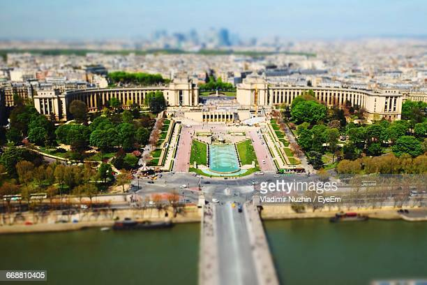 High Angle View Of Seine River And Quartier Du Trocadero In City