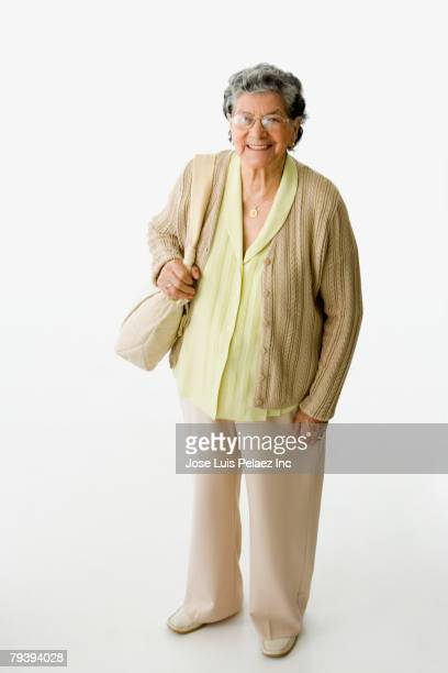 High angle view of senior Hispanic woman