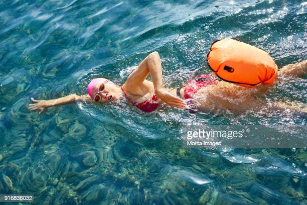 high angle view of senior swimmer swimming in sea - buoy stock photos and pictures