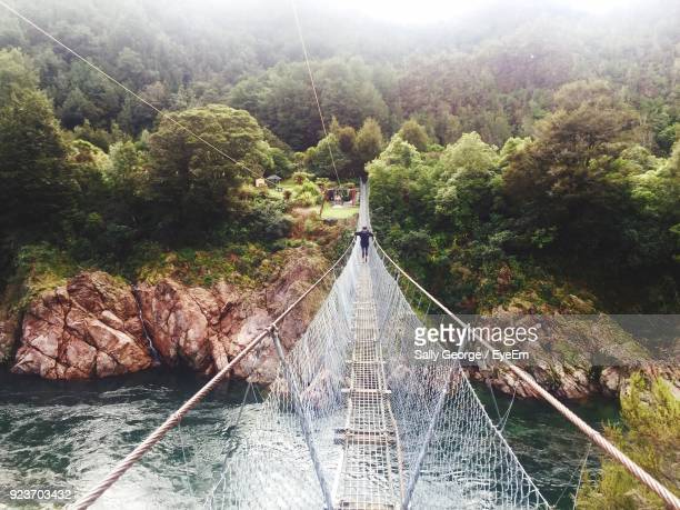 High Angle View Of Senior Woman Walking On Footbridge Over River Amidst Trees