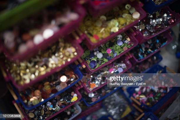 High Angle View Of Sewing Items In Containers At Store