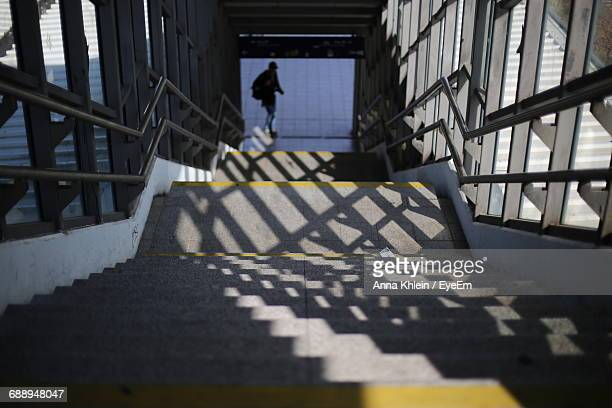 High Angle View Of Shadow Falling On Staircase