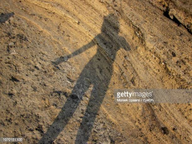 High Angle View Of Shadow On Dirt Road