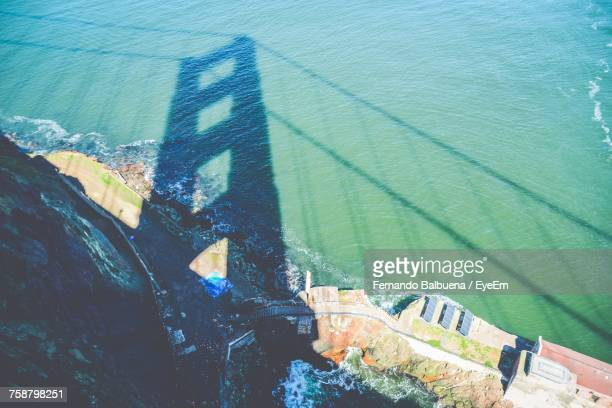 High Angle View Of Shadow On Sea