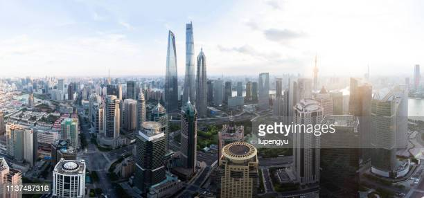 high angle view of shanghai lujiazui at sunset - pudong stock pictures, royalty-free photos & images