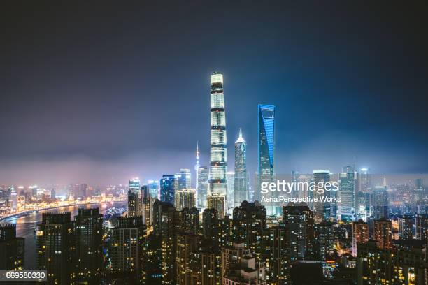 High Angle View Of Shanghai Skyline at Night