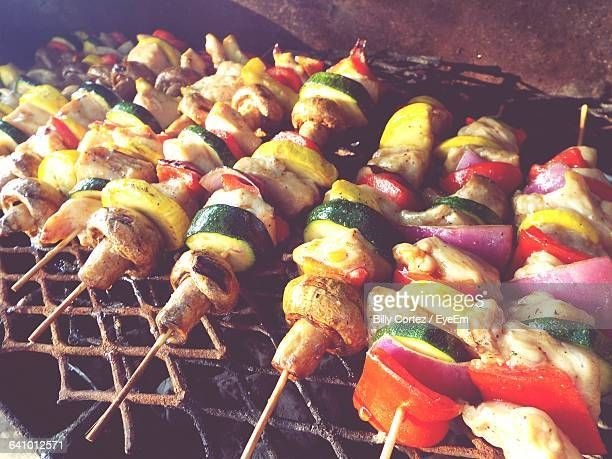 High Angle View Of Shashliks On Barbecue Grill