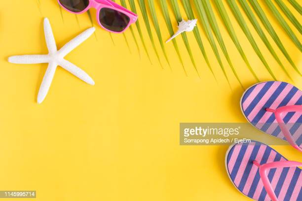 high angle view of shell with sunglasses and footwear on yellow background - group of objects stock pictures, royalty-free photos & images