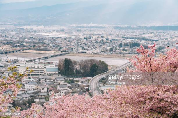high angle view of shin-matsuda townscape against sky with sakura - kanagawa prefecture stock pictures, royalty-free photos & images