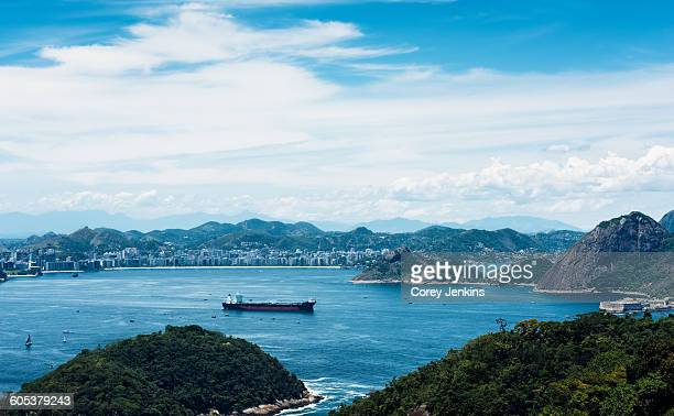 High angle view of ship sailing in bay, Niteroi, Rio De Janeiro, Brazil