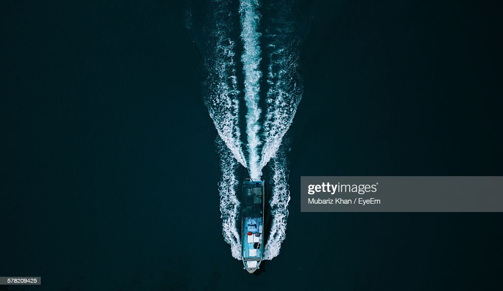 High Angle View Of Ship Sailing In Lake : Stock Photo