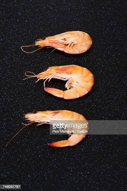 High Angle View Of Shrimps On Kitchen Counter