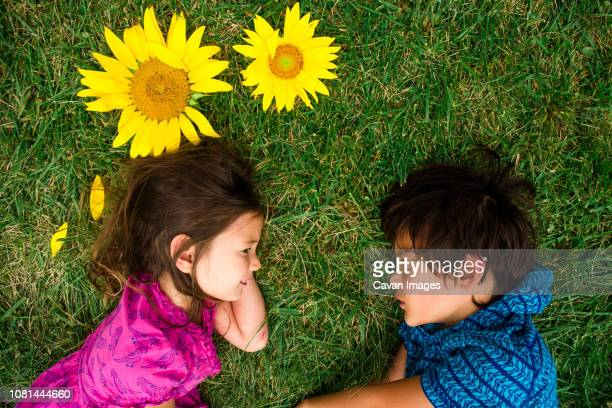 High angle view of siblings looking at each other while lying on grassy field