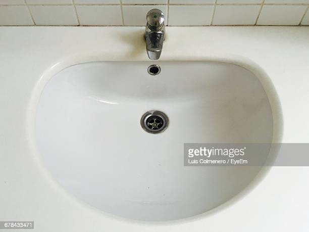 High Angle View Of Sink In Bathroom At Home