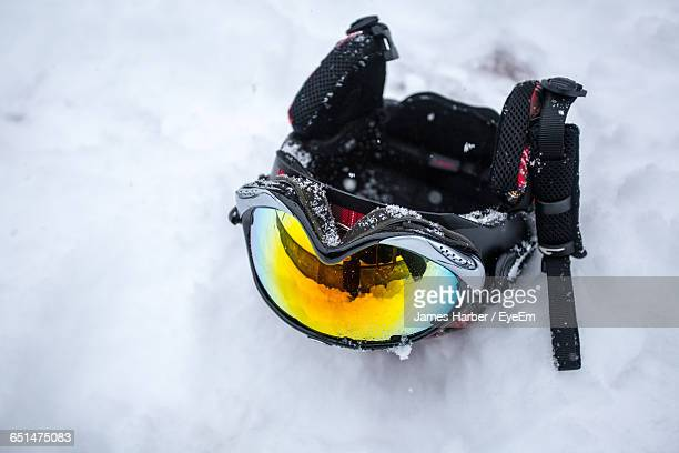 High Angle View Of Skiing Helmet On Snow