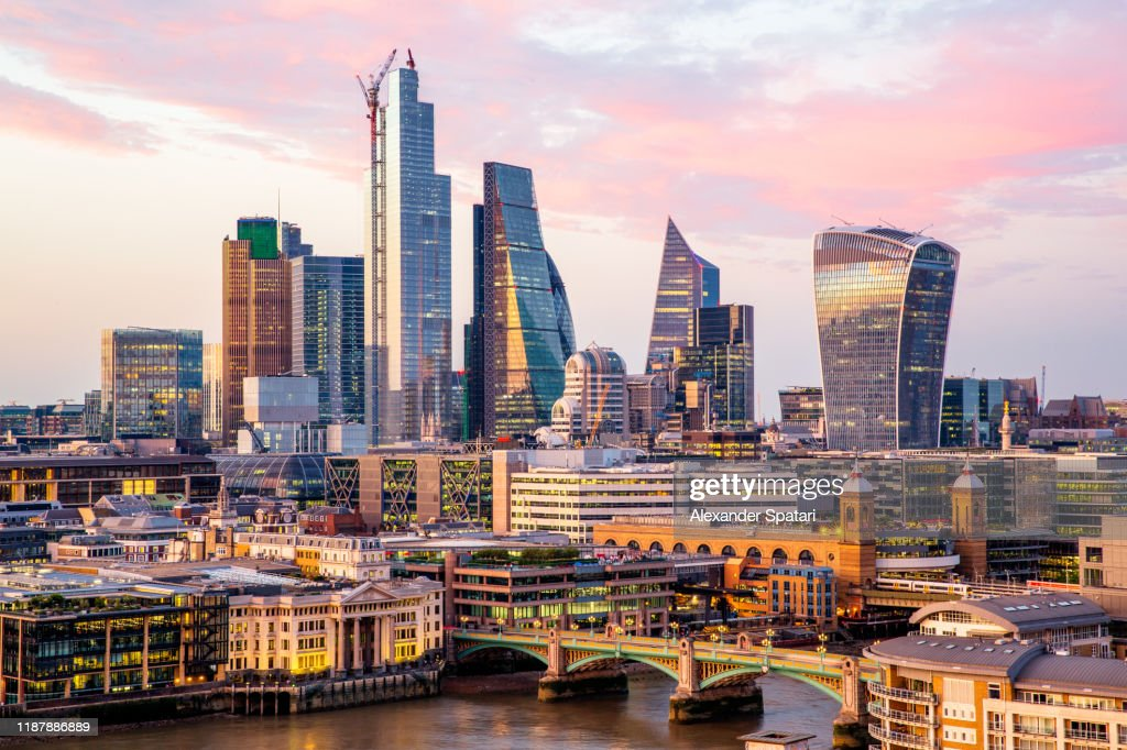 High angle view of skyscrapers in City of London at sunset, Endland, UK : Stock Photo