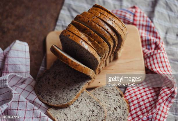 High Angle View Of Sliced Bread
