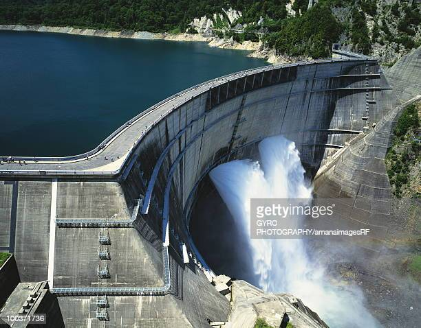 High Angle View of Sluice Gate in Dam
