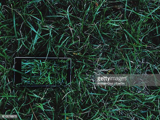 High Angle View Of Smart Phone On Grassy Field