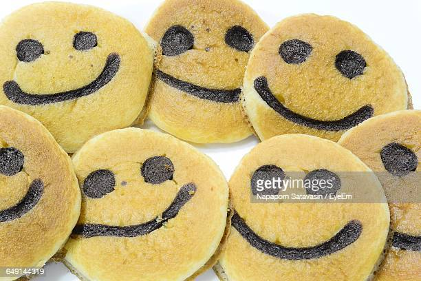High Angle View Of Smiley Face Pancakes
