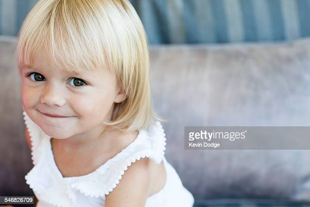 High angle view of smiling Caucasian girl