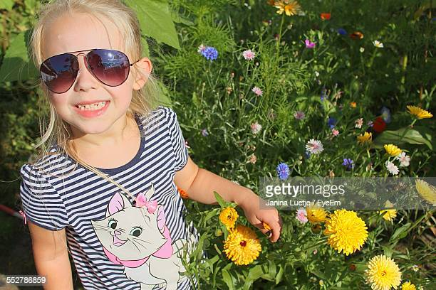 High Angle View Of Smiling Girl In Park