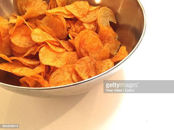 High Angle View Of Snack In Bowl On Table