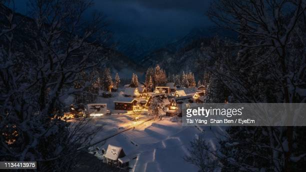 high angle view of snow covered houses in forest at night - villaggio foto e immagini stock